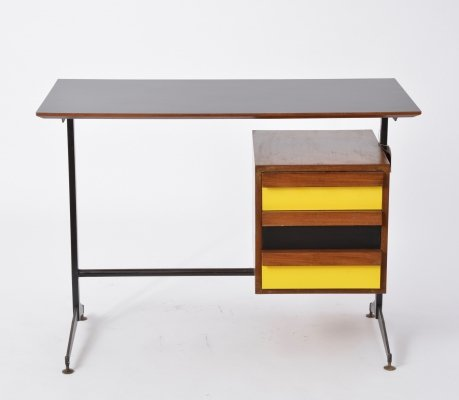 Small Italian Midcentury Desk with Black & Yellow Drawers