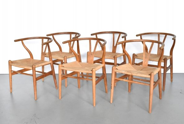 Set of 6 Wishbone dining chairs by Hans Wegner for Carl Hansen & Søn, 1970s