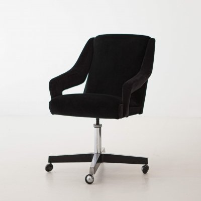 Italian Black Velvet & Steel Swivel Chair, 1950s