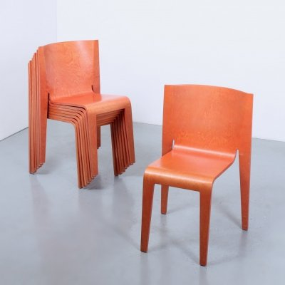 Set of 8 Salmon plywood postmodern stacking chairs, 1980s