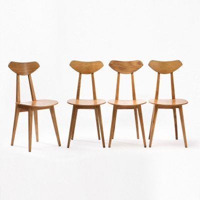 Set of 4 chairs by Wanda Genga, Poland 1950s
