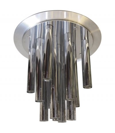 Huge Space Age Chrome Italian Thirteen Lights Chandelier by Reggiani, circa 1970