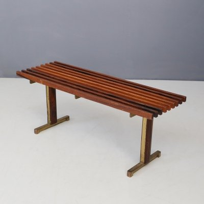 Carlo Graffi Bench in brass & walnut wood, 1950s