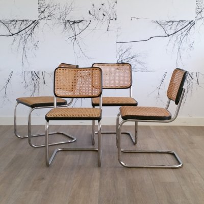 Set of 4 Dining Chairs S32 by Marcel Breuer for Thonet, 1986