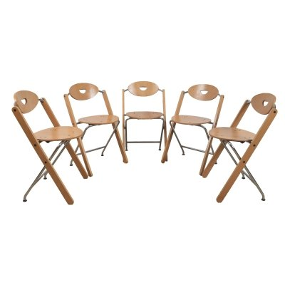 Set of 5 Folding chairs by Ruud-Jan Kokke for Kembo, 1980s