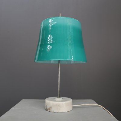 Oscar Torlasco MidCentury Table Lamp in cased glass, marble & aluminum, 1960s
