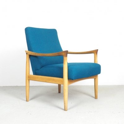 Fritz Hansen armchair with petrol colored fabric, 1960's