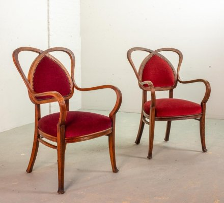 Pair of Red Velvet Heartshaped Wooden Side Chairs, 1950s