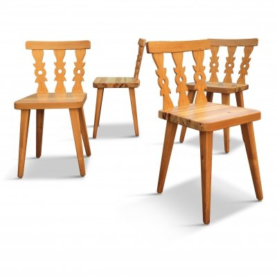 Set of 4 Mid-Century Swedish Pine Dining Chairs, 1960s