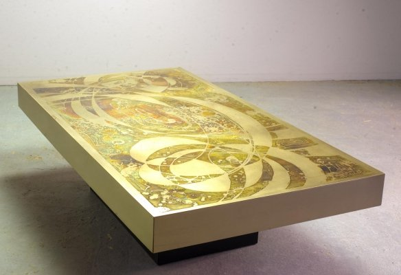 Large Design Etched & Oxidized Coffee Table by Bernard Rohne, Germany 1960s