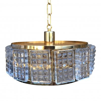 Mid-Century Brass & Glass Ceiling Lamp by Carl Fagerlund for Orrefors, 1960s