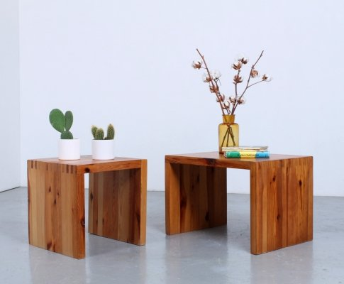 Solid pine wood side tables or stools by Ate van Apeldoorn