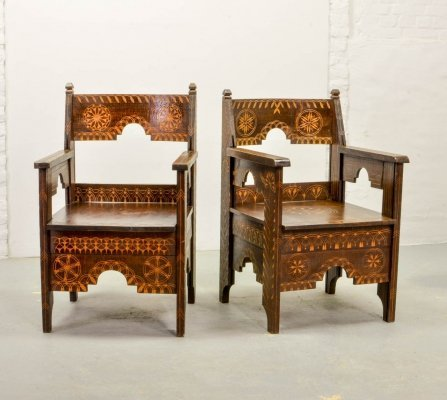 Pair of Mid-Century Design Carved Wooden Moorish Decorated Side Chairs, 1950s