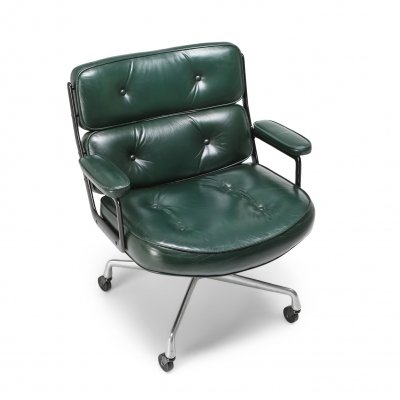 Eames Time Life Lobby Chair EA108 In Green Leather, 1960s