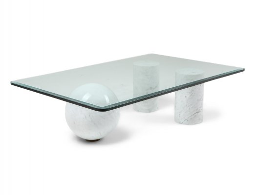 Italian White Marble Coffee Table by Massimo Vignelli, 1970s