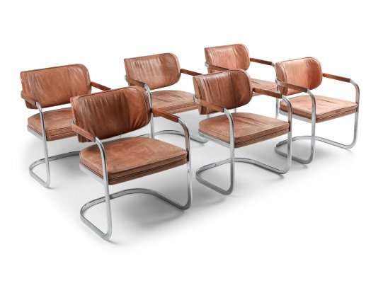 Set of 6 Cognac Leather Armchairs by Walter Knoll, 1970s