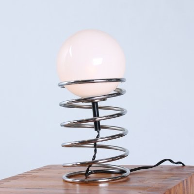 Chrome spiral spring table light by Woja, 1960s