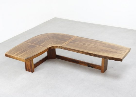 Large L-shaped coffee table in Brazilian rosewood, 1960s