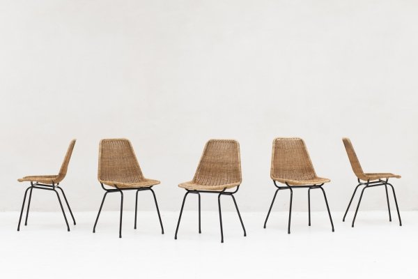Set of 5 Model Italia 100 dining chairs by Rotanhuis, 1950s
