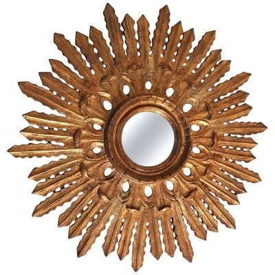 Large Sunburst Mirror in Carved Giltwood, Spain 1960s