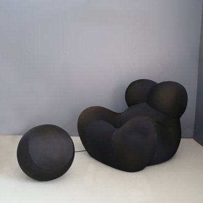 Black UP5 Lounge Chair & Ottoman by Gaetano Pesce for B&B Italia, 1970s