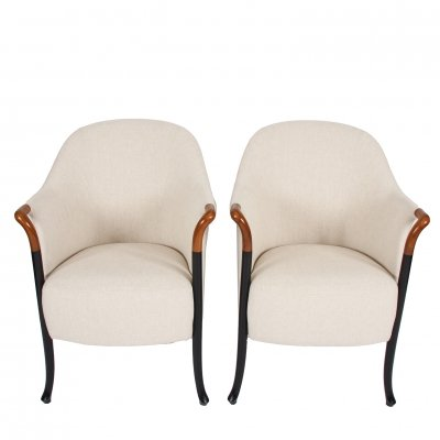 Pair of Linen Armchairs by Giorgetti, Italy 1980s