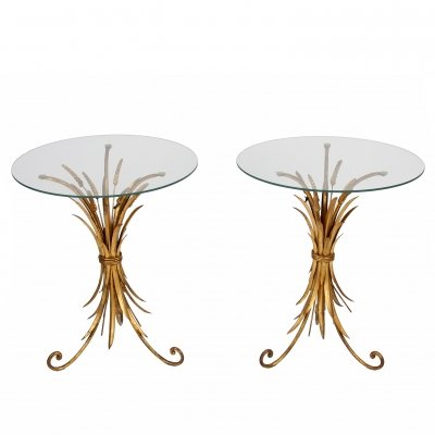 Pair of Gilt Metal Wheat Sheaf Tables