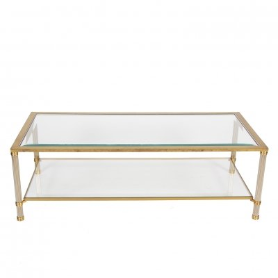 Two Tier Brass & Bevelled Glass Coffee Table