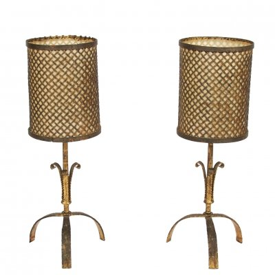 Pair of Gilt Metal Table Lamps with Perforated Shades