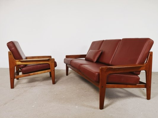 Redbrown leather sofa & chair by Arne Wahl Iversen