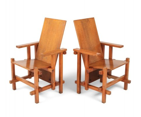 Pair of Modernist armchairs in beech, 1920s
