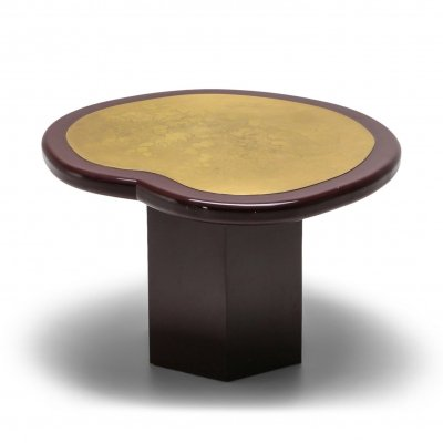Hollywood Regency Kidney Table in Lacquer & Etched Brass, 1970's