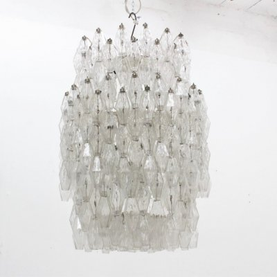 Huge 36 lights Poliedri chandelier by Carlo Scarpa for Venini, 1960s