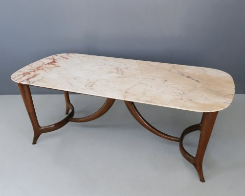 Guglielmo Ulrich Dining Table in Marble & Mahogany, 1950s