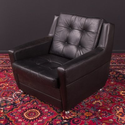 Black leather arm chair, Germany 1960s