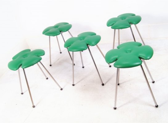 5 leafclover bar stools by Effezeta Italy, 1980s