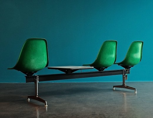 Tandem Shell Seating System bench by Charles & Ray Eames for Herman Miller, 1960s