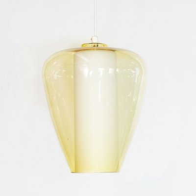 Hanging lamp in white & yellow glass, 1960's