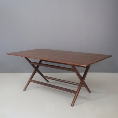 Franco Albini MidCentury Walnut foldable trestle table, 1950s