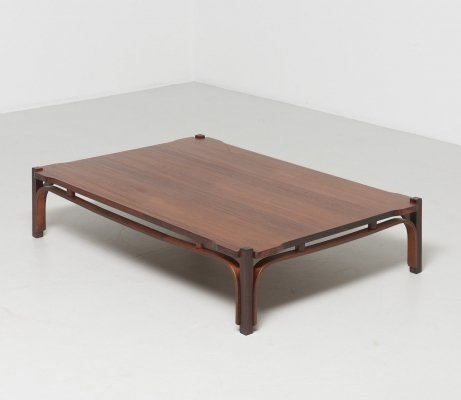 Low table in walnut by Tito Agnoli, 1960s