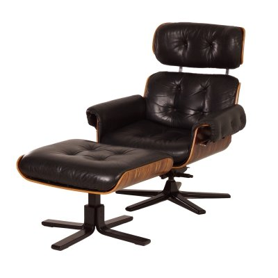 Black Leather Swivel Chair with Footstool by Martin Stoll for Giroflex, 1970s