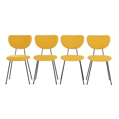 4 Yellow Dining Chairs model 101 by Gispen for Kembo, 1950s