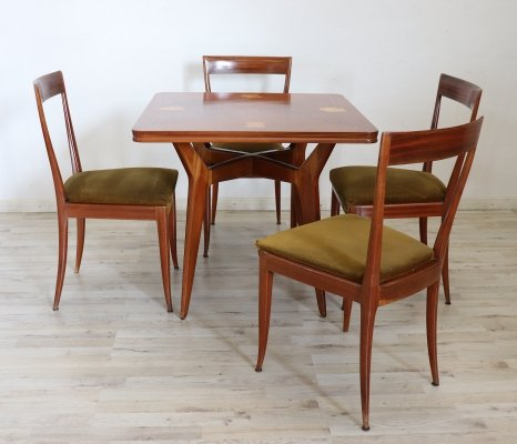 Inlaid Mahogany Dining Table with Four Chairs, Italy 1940s