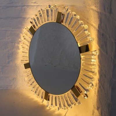 Illuminated crystal & brass mirror by Hillebrand