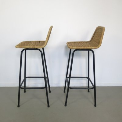 Pair of Wicker barstools by Dirk van Sliedregt, 1960s
