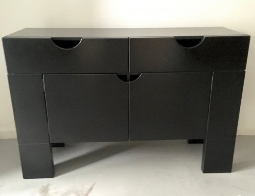 Black satin cabinet by Claire Bataille & Paul Ibens for Spectrum