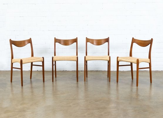 Set of 4 dining chairs by Ejnar Larsen & Aksel Bender Madsen for Glyngøre, 1960s