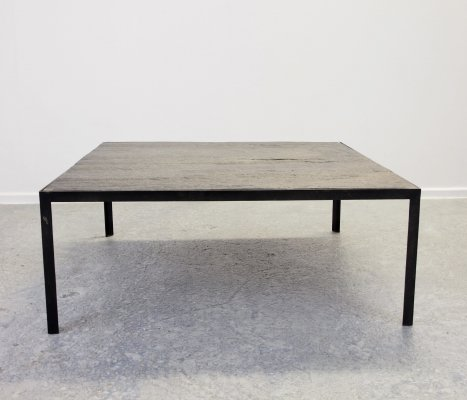 Vintage mid century modernist coffee table with slate top