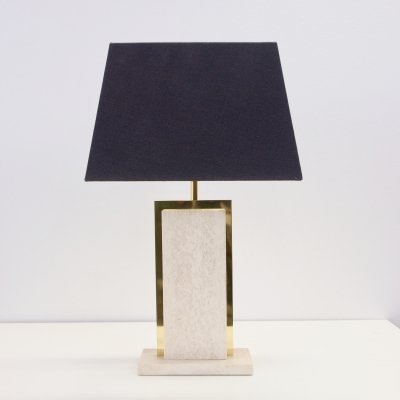 Hollywood Regency table lamp with travertine/brass foot