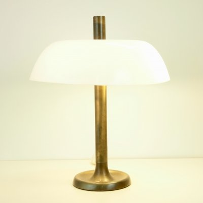 Rare mid century 'Mushroom' lamp with brass foot & acrylic shade by Hillebrand